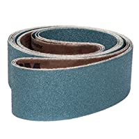 "VSM 204426 Abrasive Belt, Medium Grade, Cloth Backing, Zirconia, 120 Grit, 3"" Width, 21"" Length, Blue (Pack of 10)"
