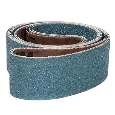 """VSM 98891 Abrasive Belt, Coarse Grade, Cloth Backing, Zirconia, 36 Grit, 4"""" Width, 36"""" Length, Blue (Pack of 10)"""