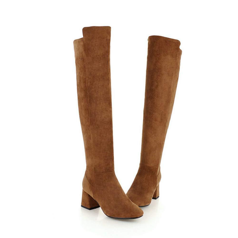 Ai Ya-xuezi Schuhe Frauen Quadratische Spitze Über Die Stiefel Herde Square High Heels Stiefel Kurzer Plüsch Winter Herbst Schuhe Größe 34-43