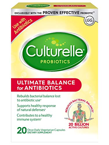 Culturelle Ultimate Balance Probiotic for Antibiotics | Use with Antibiotics | Once per Day | Contains 100% Lactobacillus rhamnosus GG | Restores Good Bacteria Lost to Antibiotic Use* | 20 Count ()