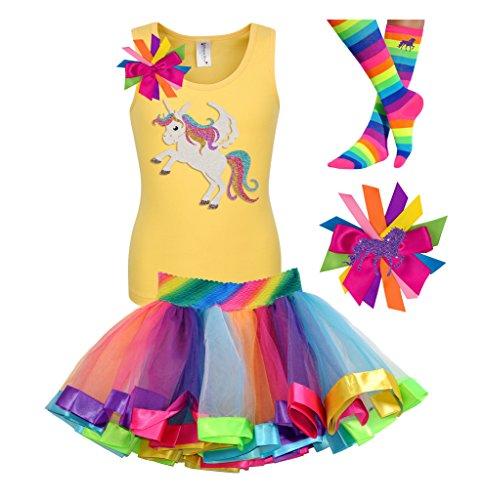 Bubblegum Divas Big Girls 8th Birthday Shirt Rainbow Tutu Socks Hair Bow 4pcs Outfit