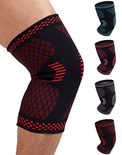 Venture Pal Knee Compression Non-Slip Sleeve - Best Knee Brace Support for Running,Hiking,Basketball,Gym - Perfect Treatment for Joint Pain Relief,Meniscus Tear,Arthritis and Injury Recovery(Single)