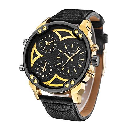 GOHUOS Men's Watches Quartz Sport Military Analog Three Time Zone Leather Bracelet (Military Quartz Bracelet)
