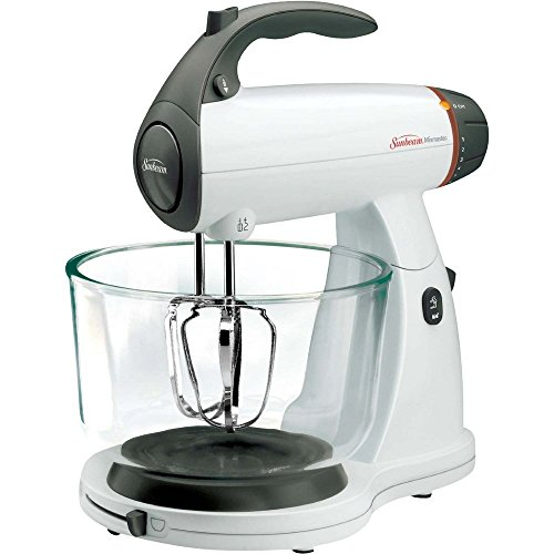 Sunbeam FPSBSMGLW White 12 Variable Speed 350 Watt Stand Mixer With Glass Bowl