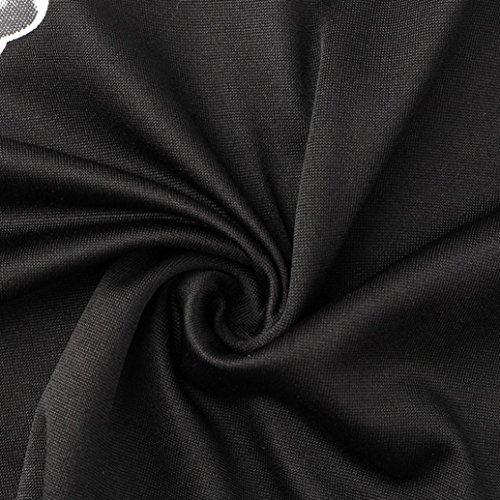 Kanpola Des Femmes De Noël Dames Robe Imprimé Noël Manches Longues Mini-robe Noire 07