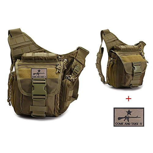 Klau Sport Outdoor Military Women and Men's Multi-Functional Tactical Messenger Shoulder Bag with Patch for Hunting Hiking Climbing Khaki ()