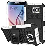 S6 Case ,Galaxy S6 Case, DLF Case [ Shockproof ] Samsung Galaxy S6 Case Heavy Duty Rugged Dual Layer TPU Textured Non Slip Reinforced Polycarbonate Hybrid Case for Samsung Galaxy S6 with Kickstand (White)