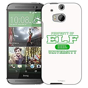 HTC One M8 Case, Slim Fit Snap On Cover by Trek Property of ELF University on White Trans Case