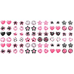 Pastel Party Princess Stick-on Earrings - 144 Pairs - Bears, Cats, Hearts, and More - Girls, Toddlers, Adults
