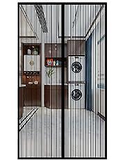 Magnetisch vliegengaas deur, insectenbescherming vliegengordijn, zonder boorgaten Makkelijk te installeren Gebruikt voor balkondeuren magnetische hordeur, Zwart, (72x78inch)185x200cm