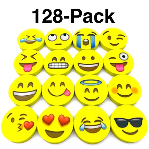 OHill Pack of 128 Pack Emoji Pencil Erasers 16 Emoticons Novelty Erasers for Party Favors School Classroom Prizes Rewards by OHill