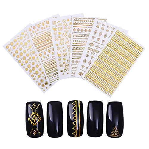 BONNIESTORE 6 Sheets Adhesive Transfer Nail Sticker Gold Geometric Strip Lines Cat Holographic Foils 3D Nail Art DIY (Gold Foil Lines)