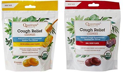 Quantum Health Cough Suppressant Lozenges 2 Flavor Bundle, (1) each: Meyer Lemon, Bing Cherry (18 count bags)