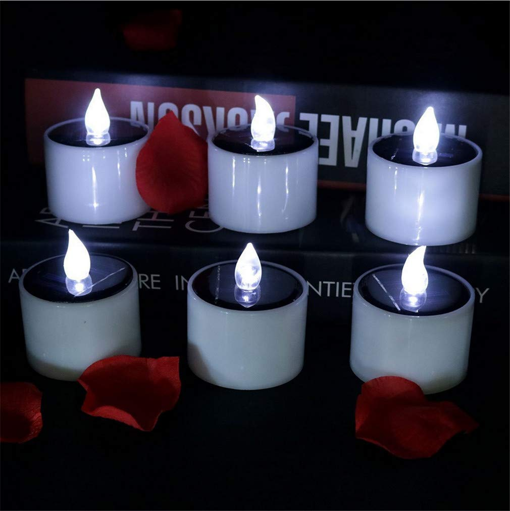 LUCKY CLOVER-CC Solar LED Candles Romantic Flameless Tea Lights Flickering Realistic Nightlights Deal Wedding Party Christmas Valentine's Day Home Décor,6pcs
