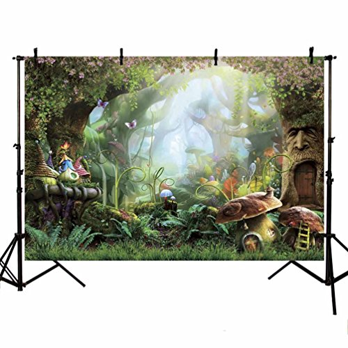 MEHOFOTO 8x6ft Enchanted Forest Photo Studio Background Cartoon Fairy Tale Magic Tree Mushroom Princess Birthday Party Decoration Banner Backdrops for Photography (In Snow Forest)