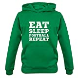 Dressdown Eat Sleep Football Repeat - Childrens/Kids Hoodie - Irish Green - XL (9-11 Years)