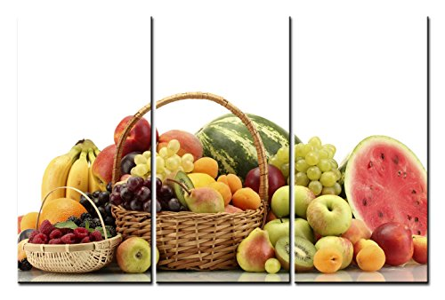 SmartWallArt@ -3 Piece Wall Art Painting A Basket Of Fruit And Watermelons Pictures Prints On Canvas Picture -For Home Modern Decor