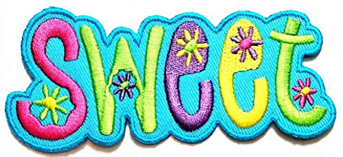 Nipitshop Patches Blue Sweet Colorful Flower Hippie Cartoon Kids Patch Embroidery Applique Patch Lace Fabric Motif Applique Sew On Patches for Craft Sewing Clothing