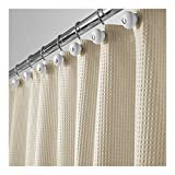 Hotel Shower Curtain MetroDecor mDesign Long Hotel Quality Polyester/Cotton Blend Fabric Shower Curtain, Rustproof Metal Grommets - Waffle Weave for Bathroom Showers and Bathtubs - 72