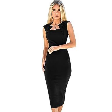 Amazon.com: LaceLady Women\'s Vintage Pencil Dress V Neck Short ...