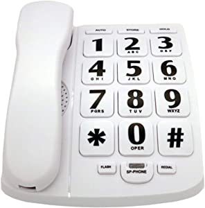 JeKaVis J-P02 Large Button Corded Phone for Elderly with Speakerphone Amplified Phones Support Speed Dial/Wall Mountable, White
