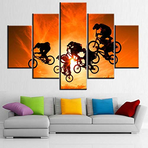 (Sunset Landscape Red Paintings Contemporary Home Decor 5 Piece Prints Wall Art on Canvas Rider Jumping Action Pictures for Living Room Black Bicycle Artwork Framed Ready to Hang Wallpaper(60''Wx40''H))