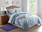 Purple and Teal Bedding Laura Hart Kids Antique Chevron Purple Comforter and Sham, Twin/Twin XL, Antique Chevron Purple/Teal