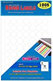 """Pack of 1008, 1-inch Diameter Round Dot Labels, White, 8 1/2 x 11 Inch Sheet, Fits All Laser/Inkjet Printers, 63 Labels per Sheet, 1"""""""