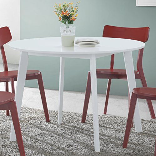 Roundhill Furniture T211 Roma Contemporary Round Dining Table, White