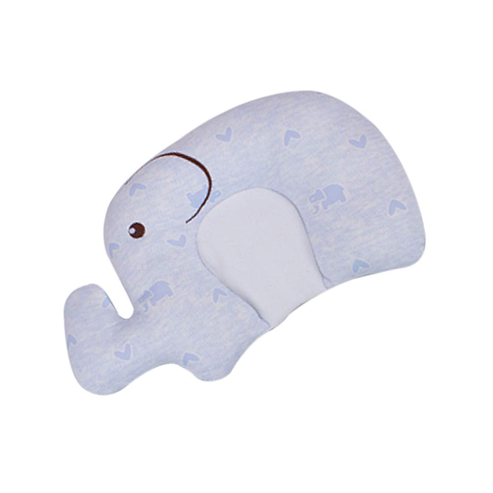 Dear Tomorrow Baby Pillow - Preventing Flat Head Syndrome (Plagiocephaly) for Your Newborn Baby,Made of Memory Foam Head- Shaping Pillow and Neck Support (Blue Elephant)