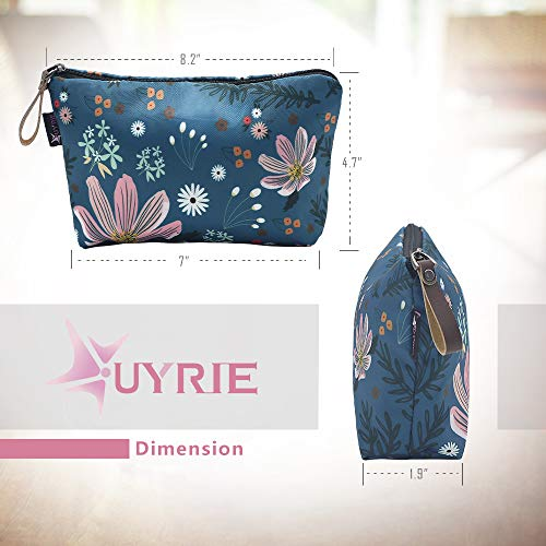 Cosmetic Bag, UYRIE Makeup pouch Travel Makeup Bags Waterproof Toiletry Bag (Two pieces Blue Flower&Pink Flower)