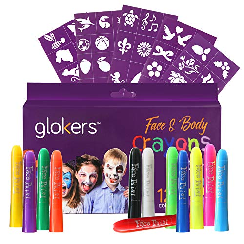 Glokers Face and Body Crayons Set | 12 Colors Washable, Non-Toxic and Hypoallergenic Paint Sticks | Sweat Proof Painting Markers for Children and Adult Costume, Halloween Parties | Bonus 50 Stencils -