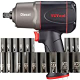 TZTool 1200 All new Diesel 1/2' Impact wrench set, [21-PC] Deep impact sockets+Extension bar