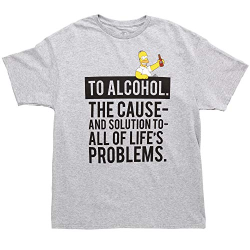 Simpsons Ode to Alcohol Adult T-Shirt - Grey (X-Large)