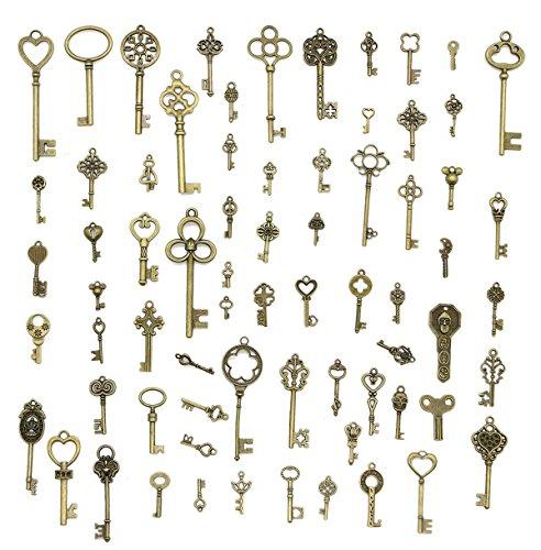 LepoHome 70pcs Antique Vintage Bronze Skeleton Key Charms Set DIY Necklace Pendant Jewelry Making Supplies - Carved Bird Pendant