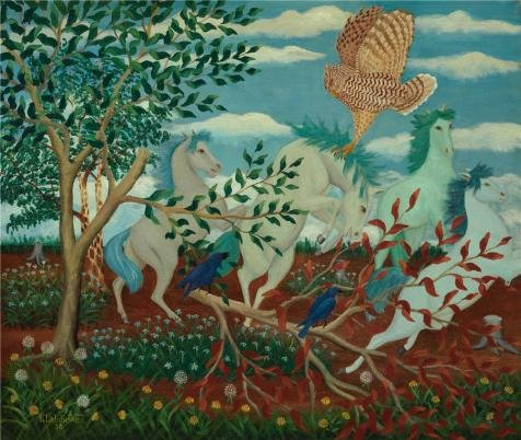 The Perfect Effect Canvas Of Oil Painting 'Lawrence H. Lebduska,Wild Horses And Owl,1938' ,size: 18x21 Inch / 46x54 Cm ,this Imitations Art DecorativeCanvas Prints Is Fit For Basement Artwork And Home Decor And Gifts (Sier Oil)