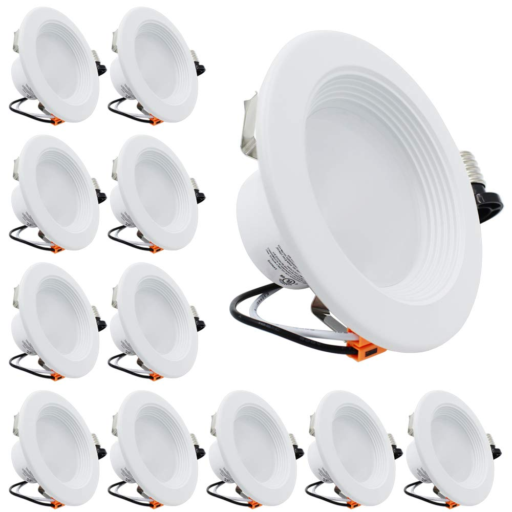 ESD Tech 12 Pack 4'' Inch LED Recessed Lighting Trim - Dimmable Retrofit Downlight Bulb Fixture, 4000K, 700Lm, White Round Baffle, JA-8, Energy Star, UL Listed