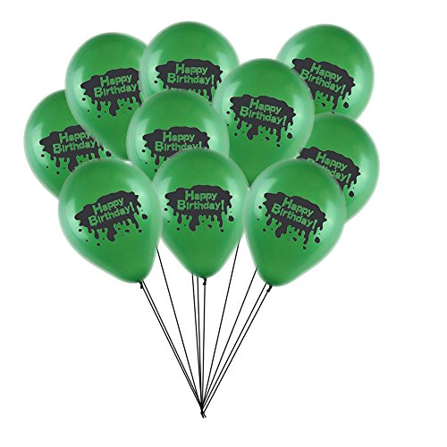 RDC Ghost Slime Theme Happy Birthday Party Balloons Bouquet, 10pc Latex]()