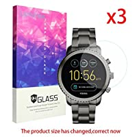 Lamshaw 9H Tempered Glass Screen Protector for Fossill Q Explorist Smartwatch - Q EXPLORIST SMOKE