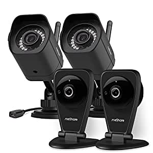 meShare 1080p HD Cloud Cam Kits【Free 6 Month Premium Cloud Recording】Wireless Security Camera System with Smart Motion Alerts, Night Vision, Works with Alexa