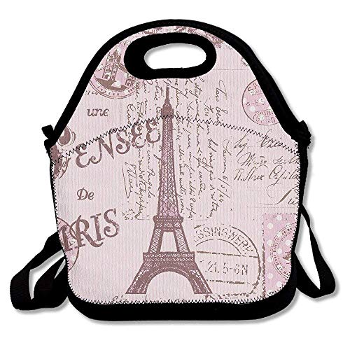 Titan's Mother Eat Sleep Theater Neoprene Lunch Bags Insulated Travel Picnic Lunch Box Tote Handbag With Shoulder Strap For Women Teens Girls Kids Adults,Pink Paris Stamps Pattern Eiffel Tower