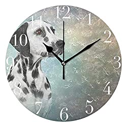 Dozili Old Vintage Dog Round Wall Clock Arabic Numerals Design Non Ticking Wall Clock Large for Bedrooms,Living Room,Bathroom