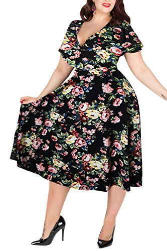 Nemidor Women's V-Neckline Stretchy Floral Print Midi Plus Size Casual Dress (22W, Black-Print)