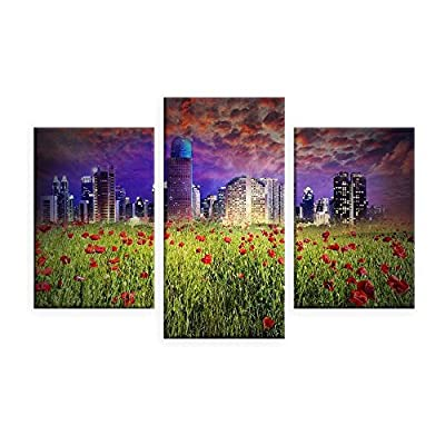 Alonline Art - Fantasy Urban Life Split 3 Panels FRAMED Cotton Canvas For Home Decor READY TO HANG Wall Art Museum Quality Frame Frames