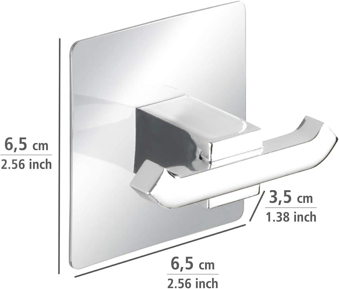 6,5 x 6,5 x 3,5 cm Wenko 23846100 Turbo-Loc Cochet Mural Duo Quadro Chrom/é Acier inoxydable