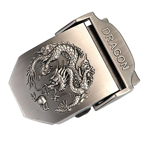 Faleto Mens Customized Belt Buckles Military Automatic Adjustable Metal Buckle,3-Dragon