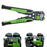 Hindom Wire Stripper Tool/Cutter/Crimper, Automatic Crimping Pliers Multifunctional Terminal Tools, 210MM, Green
