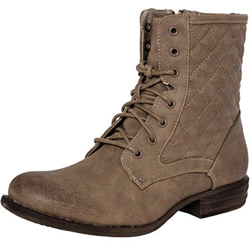 Matelassés Sbo037 Pour Femme Bottines 3 Boots Kaki Caspar Coloris Classiques À Lacets 4vXB0q