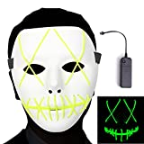 Ansee Scary Mask Halloween Cosplay Led Costume El Wire Light up for Festival