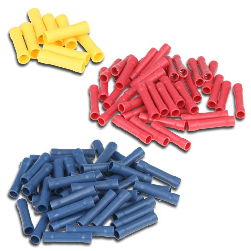 SET: 100 Stossverbinder isoliert 50xblau, 40xrot, 10xgelb K24 - Stossverbinder